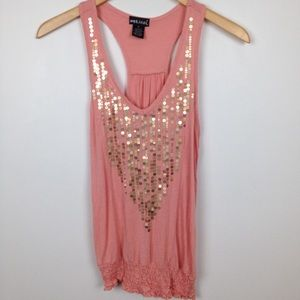 Wet Seal Gold  Sequined Racerback Top Apricot |  M